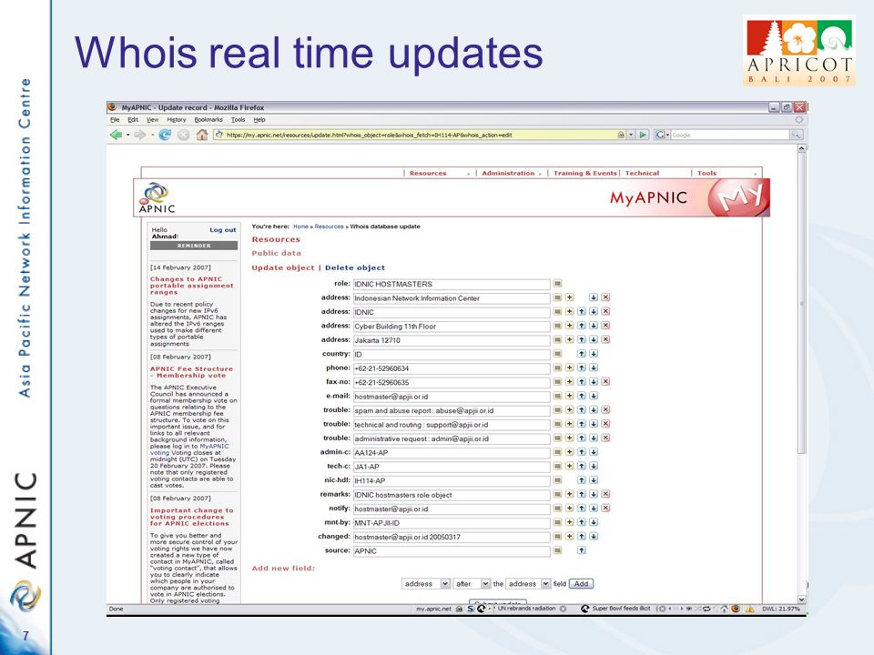 6 Whois real time updates
