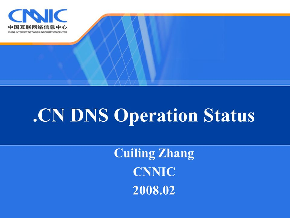 .CN DNS Operation Status Cuiling Zhang CNNIC 2008.02