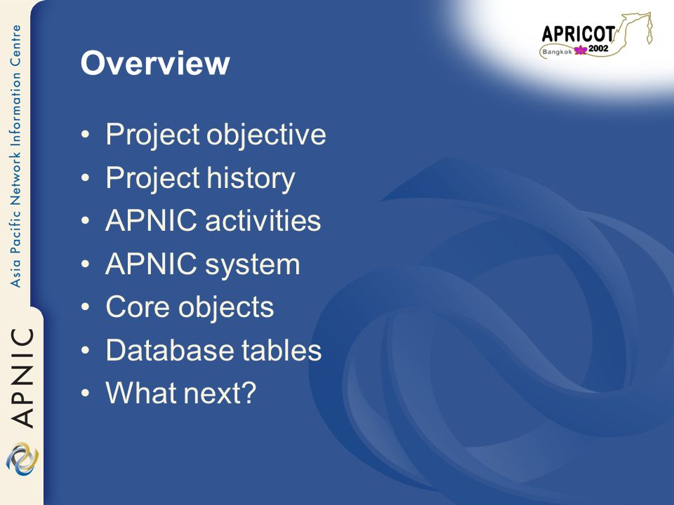 Overview Project objective Project history APNIC activities APNIC system Core objects Database tables What next