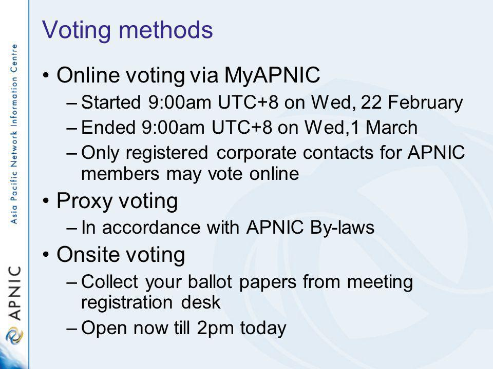 Voting methods Online voting via MyAPNIC –Started 9:00am UTC+8 on Wed, 22 February –Ended 9:00am UTC+8 on Wed,1 March –Only registered corporate conta