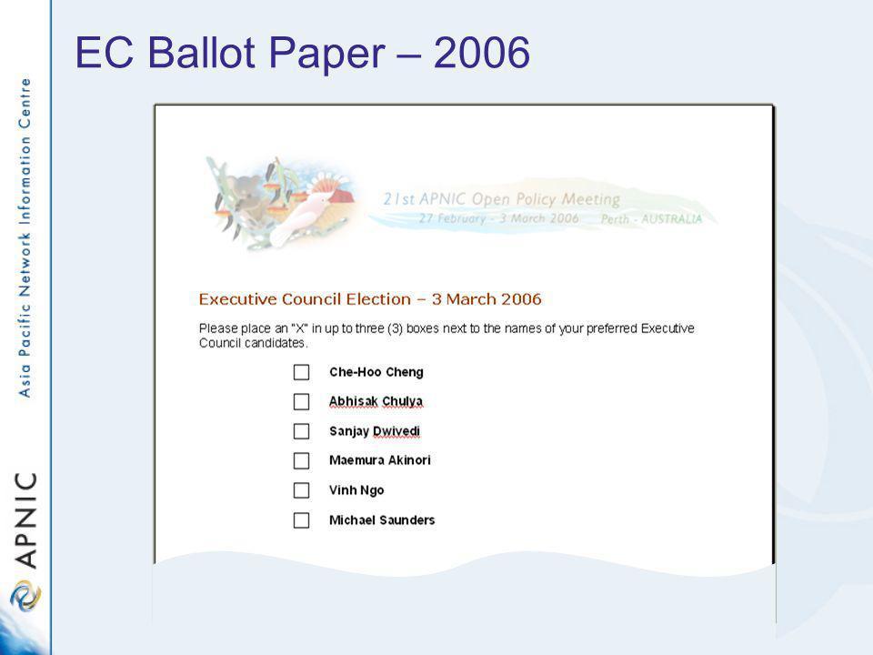EC Ballot Paper – 2006