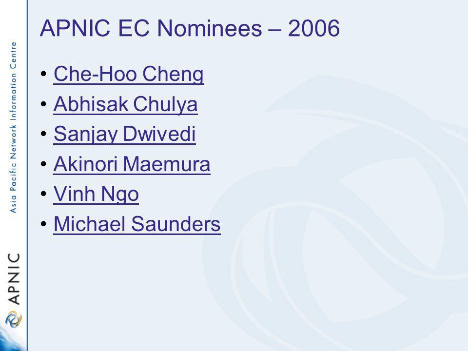 APNIC EC Nominees – 2006 Che-Hoo Cheng Abhisak Chulya Sanjay Dwivedi Akinori Maemura Vinh Ngo Michael Saunders