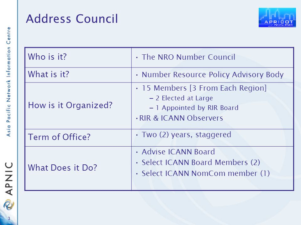 3 Who is it? The NRO Number Council What is it? Number Resource Policy Advisory Body How is it Organized? 15 Members [3 From Each Region] – 2 Elected