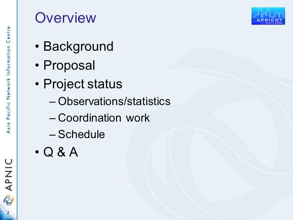 2 Overview Background Proposal Project status –Observations/statistics –Coordination work –Schedule Q & A