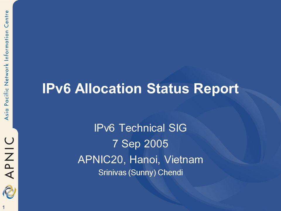 1 IPv6 Allocation Status Report IPv6 Technical SIG 7 Sep 2005 APNIC20, Hanoi, Vietnam Srinivas (Sunny) Chendi