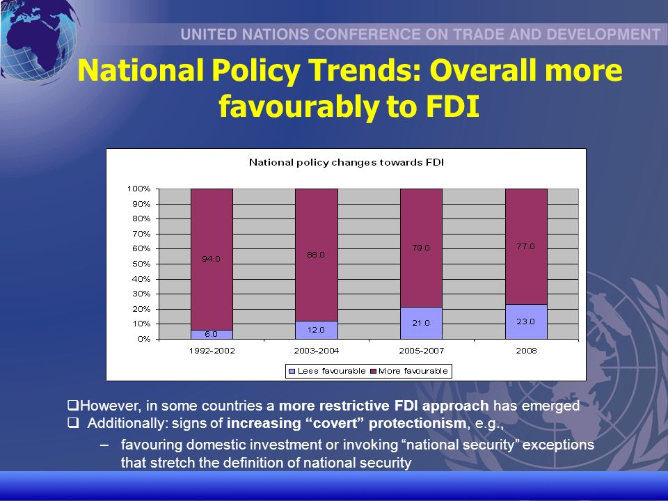 UNCTAD/CD-TFT 10 National Policy Trends: Overall more favourably to FDI However, in some countries a more restrictive FDI approach has emerged Additionally: signs of increasing covert protectionism, e.g., – –favouring domestic investment or invoking national security exceptions that stretch the definition of national security