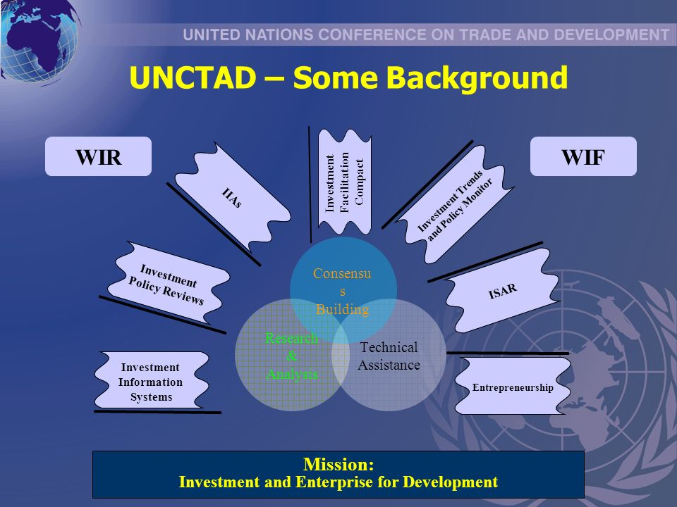 Entrepreneurship Investment Policy Reviews Investment Trends and Policy Monitor ISAR IIAs Investment Information Systems Mission: Investment and Enterprise for Development Research & Analysis Technical Assistance Investment Facilitation Compact Consensu s Building WIRWIF UNCTAD – Some Background