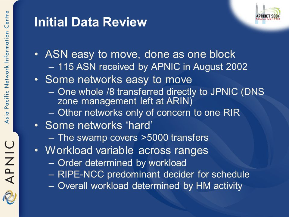 Initial Data Review ASN easy to move, done as one block –115 ASN received by APNIC in August 2002 Some networks easy to move –One whole /8 transferred directly to JPNIC (DNS zone management left at ARIN) –Other networks only of concern to one RIR Some networks hard –The swamp covers >5000 transfers Workload variable across ranges –Order determined by workload –RIPE-NCC predominant decider for schedule –Overall workload determined by HM activity