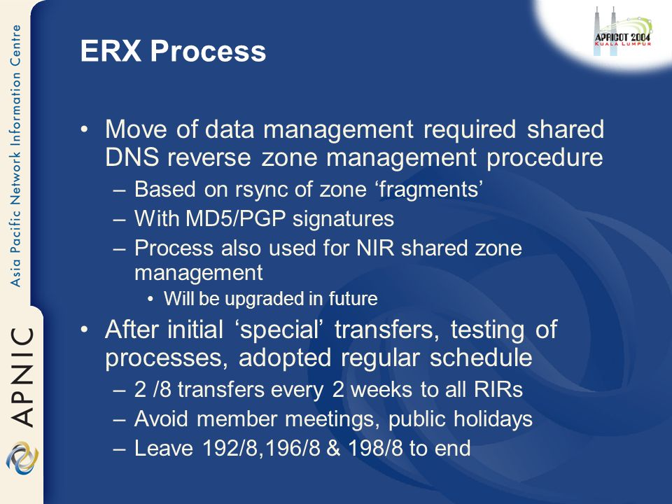 ERX Process Move of data management required shared DNS reverse zone management procedure –Based on rsync of zone fragments –With MD5/PGP signatures –Process also used for NIR shared zone management Will be upgraded in future After initial special transfers, testing of processes, adopted regular schedule –2 /8 transfers every 2 weeks to all RIRs –Avoid member meetings, public holidays –Leave 192/8,196/8 & 198/8 to end