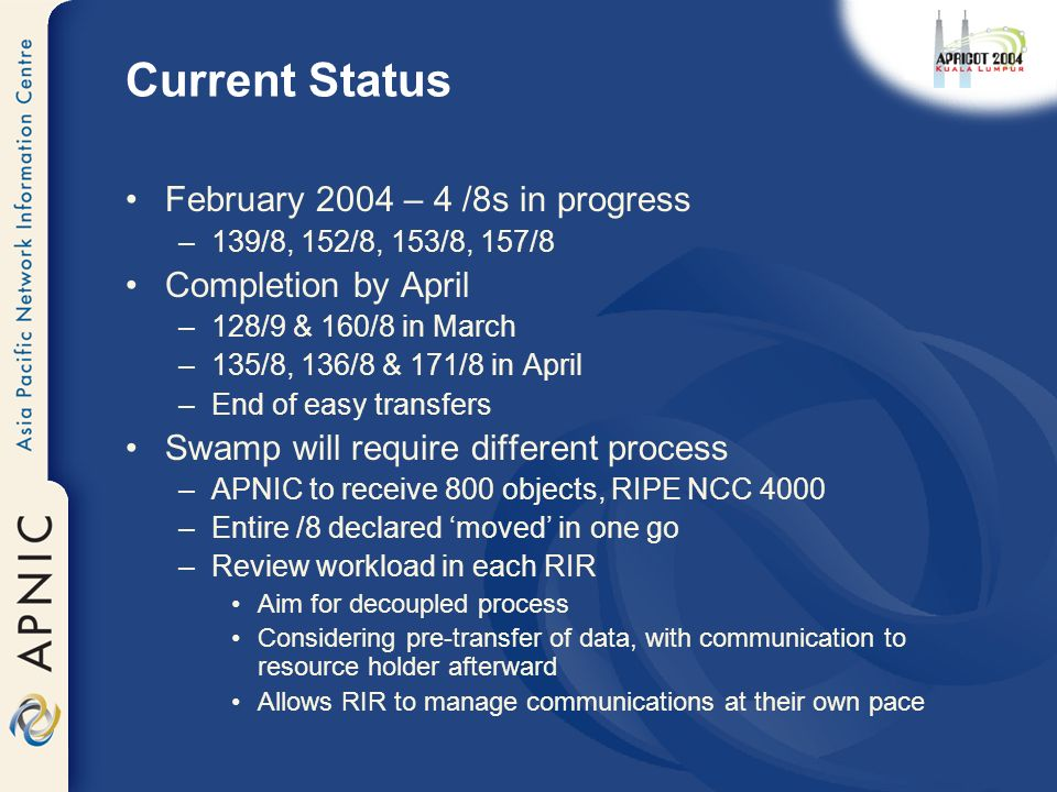 Current Status February 2004 – 4 /8s in progress –139/8, 152/8, 153/8, 157/8 Completion by April –128/9 & 160/8 in March –135/8, 136/8 & 171/8 in April –End of easy transfers Swamp will require different process –APNIC to receive 800 objects, RIPE NCC 4000 –Entire /8 declared moved in one go –Review workload in each RIR Aim for decoupled process Considering pre-transfer of data, with communication to resource holder afterward Allows RIR to manage communications at their own pace