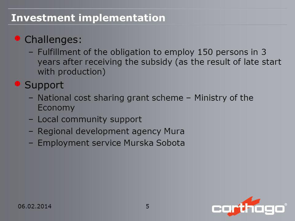 Investment implementation Challenges: –Fulfillment of the obligation to employ 150 persons in 3 years after receiving the subsidy (as the result of la