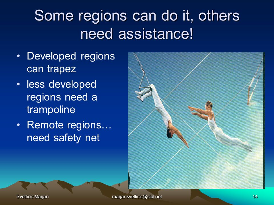 Svetlicic Marjanmarjansvetlicic@siol.net14 Some regions can do it, others need assistance.