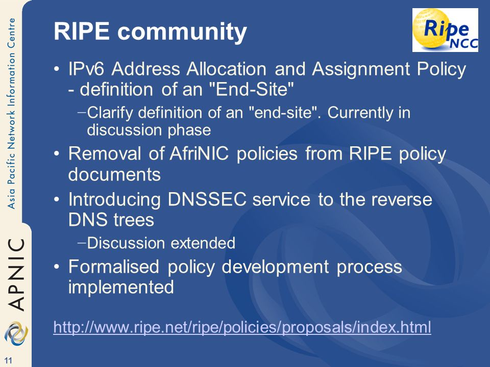 11 RIPE community IPv6 Address Allocation and Assignment Policy - definition of an