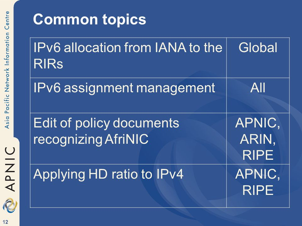 12 Common topics IPv6 allocation from IANA to the RIRs Global IPv6 assignment managementAll Edit of policy documents recognizing AfriNIC APNIC, ARIN,
