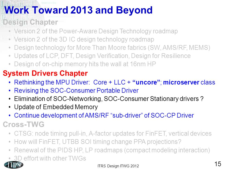 ITRS Design ITWG 2012 15 Work Toward 2013 and Beyond Design Chapter Version 2 of the Power-Aware Design Technology roadmap Version 2 of the 3D IC desi