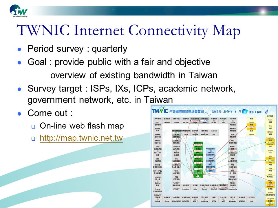 5 TWNIC Internet Connectivity Map Period survey : quarterly Goal : provide public with a fair and objective overview of existing bandwidth in Taiwan Survey target : ISPs, IXs, ICPs, academic network, government network, etc.