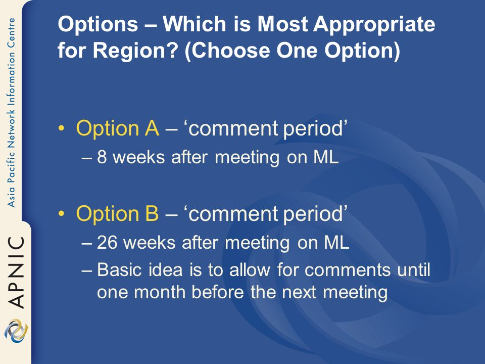 Options – Which is Most Appropriate for Region.