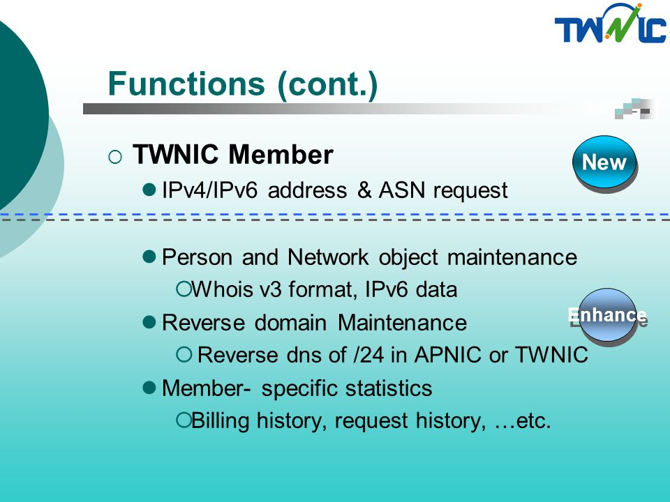 Functions (cont.) TWNIC IP Team Ticketing System Billing Resource Management IPv6 allocation, IPv4 allocation, ASN…etc.