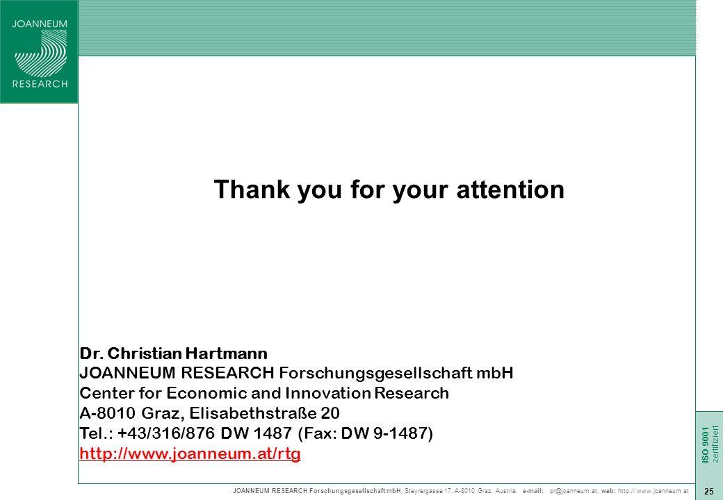 JOANNEUM RESEARCH Forschungsgesellschaft mbH, Steyrergasse 17, A-8010 Graz, Austria, e-mail: pr@joanneum.at, web: http:// www.joanneum.at ISO 9001 zert ISO 9001 zertifiziert 25 Thank you for your attention Dr.