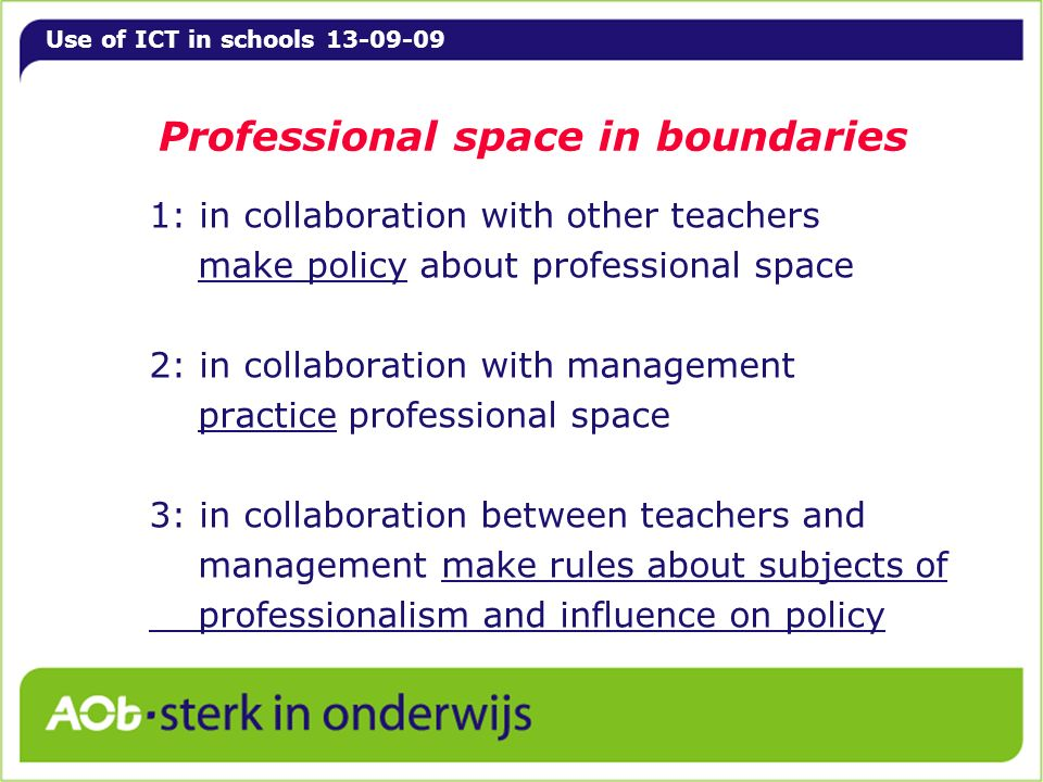 Use of ICT in schools 13-09-09 Professional space in boundaries 1: in collaboration with other teachers make policy about professional space 2: in collaboration with management practice professional space 3: in collaboration between teachers and management make rules about subjects of professionalism and influence on policy