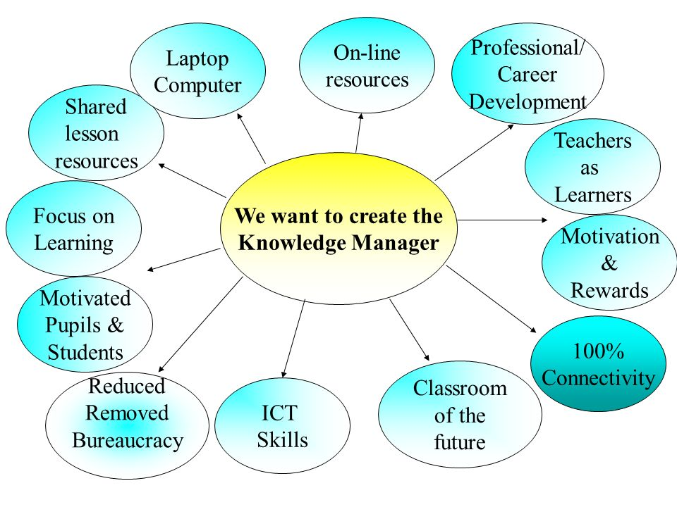Shared lesson resources Motivated Pupils & Students Reduced Removed Bureaucracy ICT Skills On-line resources 100% Connectivity Professional/ Career De