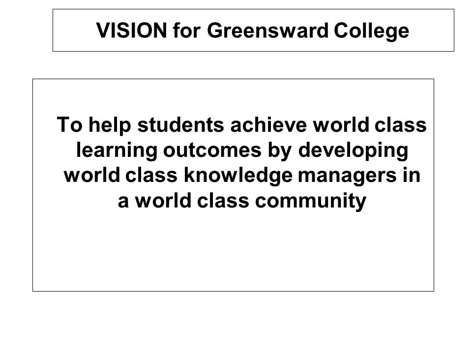 VISION for Greensward College To help students achieve world class learning outcomes by developing world class knowledge managers in a world class com