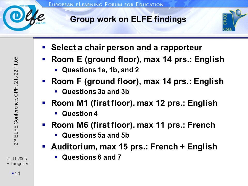 21.11.2005 H Laugesen 14 2 nd ELFE Conference, CPH, 21.-22.11.05 Group work on ELFE findings Select a chair person and a rapporteur Room E (ground floor), max 14 prs.: English Questions 1a, 1b, and 2 Room F (ground floor), max 14 prs.: English Questions 3a and 3b Room M1 (first floor).
