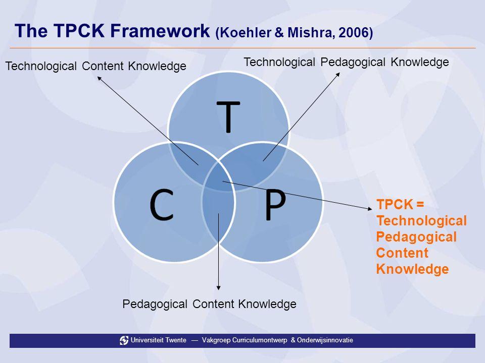 Universiteit Twente Vakgroep Curriculumontwerp & Onderwijsinnovatie The TPCK Framework (Koehler & Mishra, 2006) Technological Content Knowledge Technological Pedagogical Knowledge Pedagogical Content Knowledge TPCK = Technological Pedagogical Content Knowledge