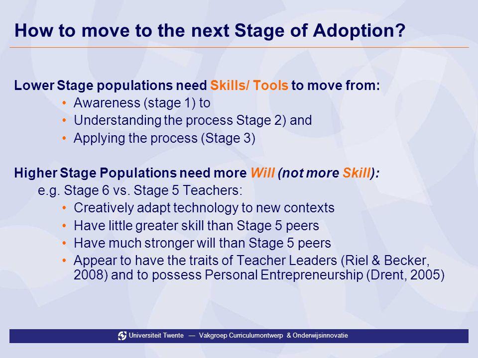 Universiteit Twente Vakgroep Curriculumontwerp & Onderwijsinnovatie How to move to the next Stage of Adoption.