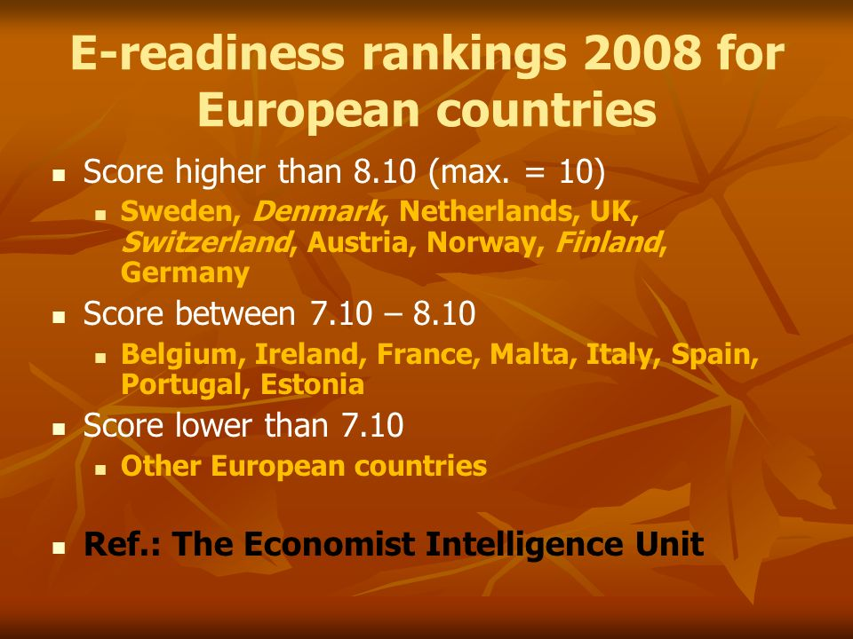 E-readiness rankings 2008 for European countries Score higher than 8.10 (max.