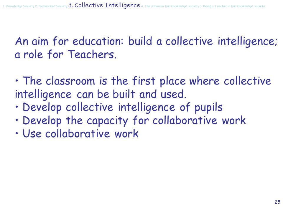 24 Collaborative work Virtual communities Semantic web communication collaboration collective learning collective competencies collective memory collective intelligence 1.