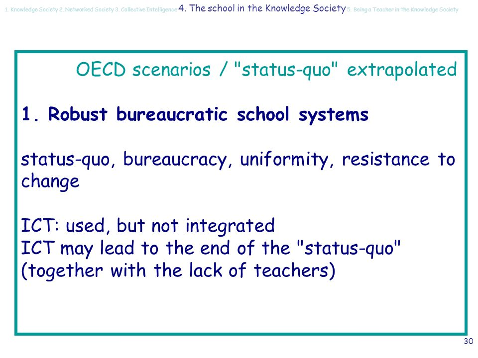 29 The school of the future… The OECD scenarios Schooling for tomorrow: what Schools for the future , CERI, OECD, 2001 status-quo extrapolated re-schooling de-schooling 1.