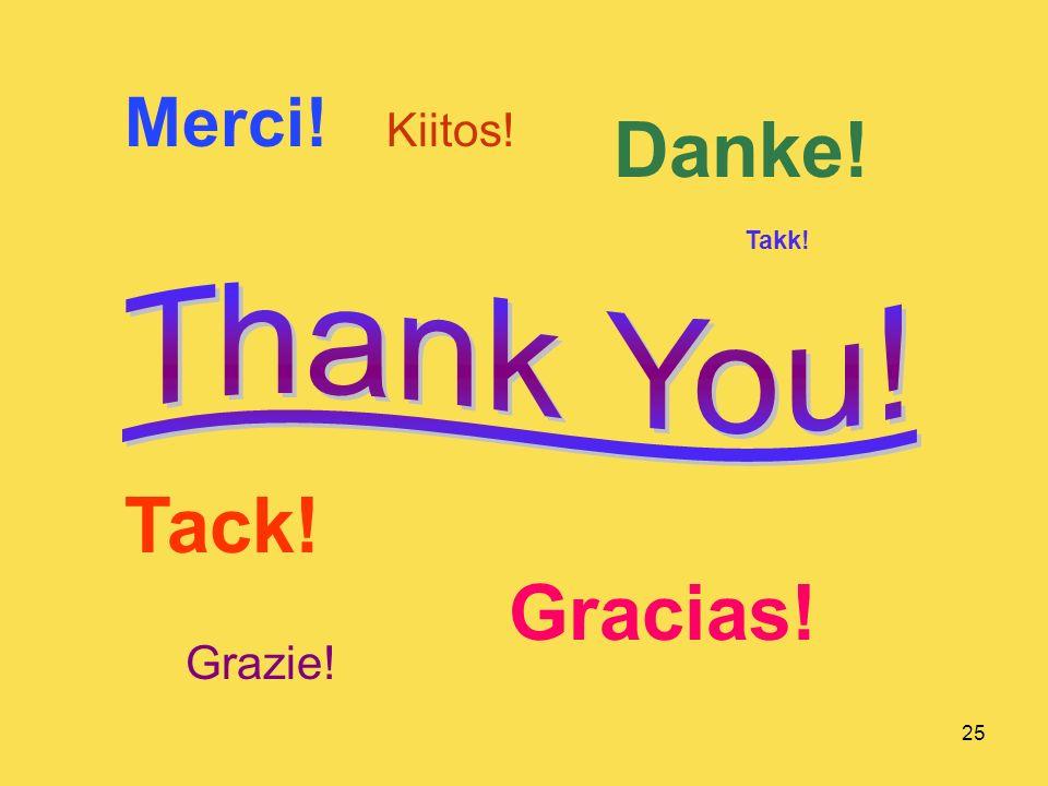 25 Merci! Danke! Gracias! Tack! Kiitos! Grazie! Takk!