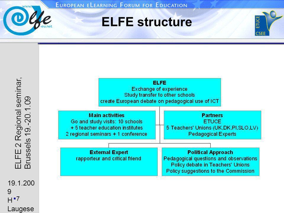 19.1.200 9 H Laugese n 7 ELFE 2 Regional seminar, Brussels 19.-20.1.09 ELFE structure
