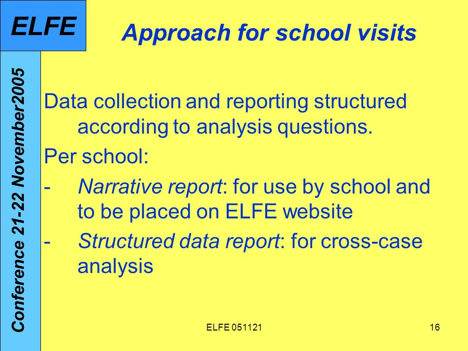 ELFE 05112116 Approach for school visits Data collection and reporting structured according to analysis questions.