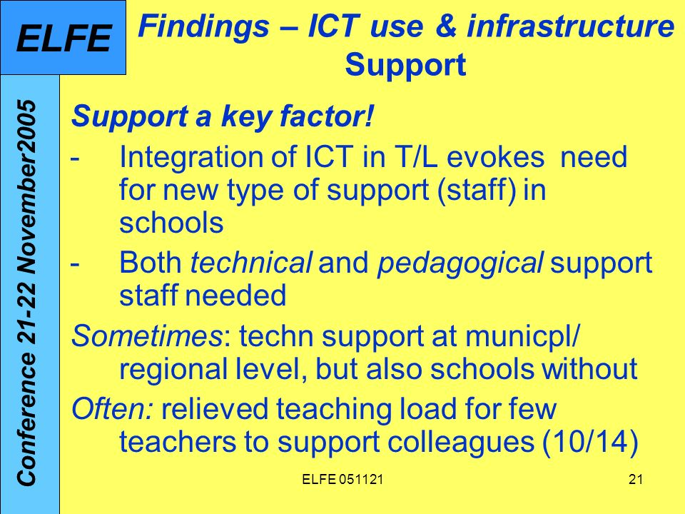 ELFE Findings – ICT use & infrastructure Support Support a key factor.