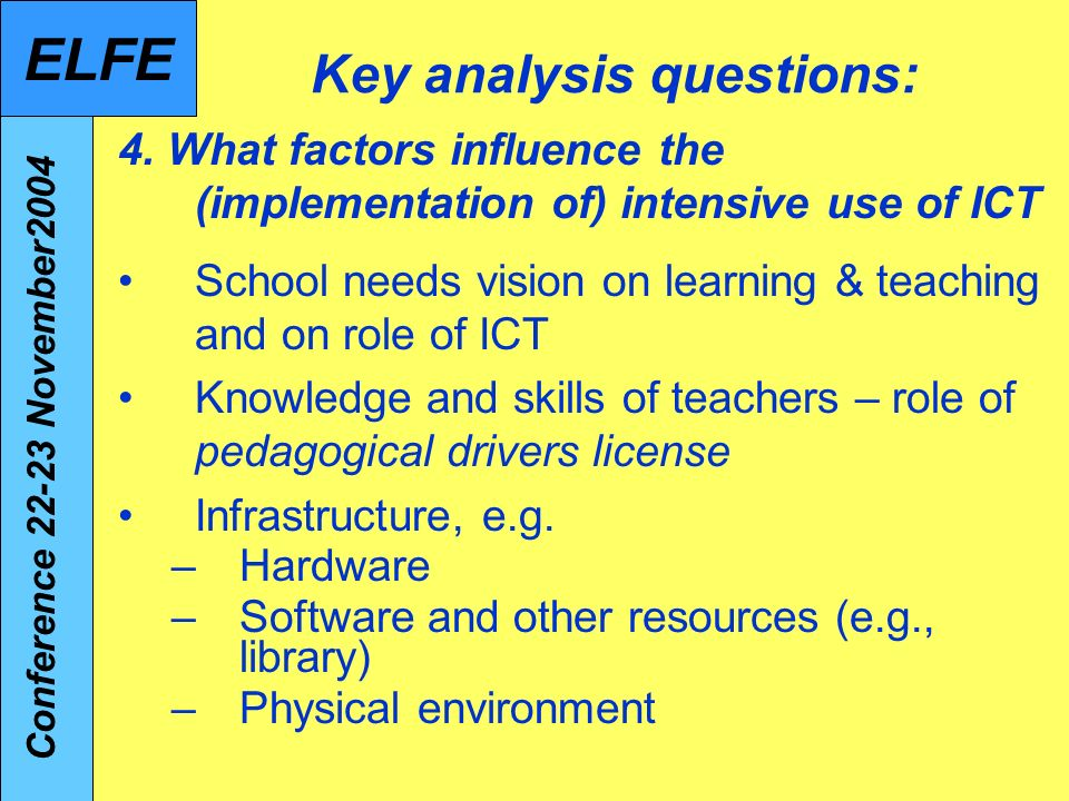 Key analysis questions: 4.