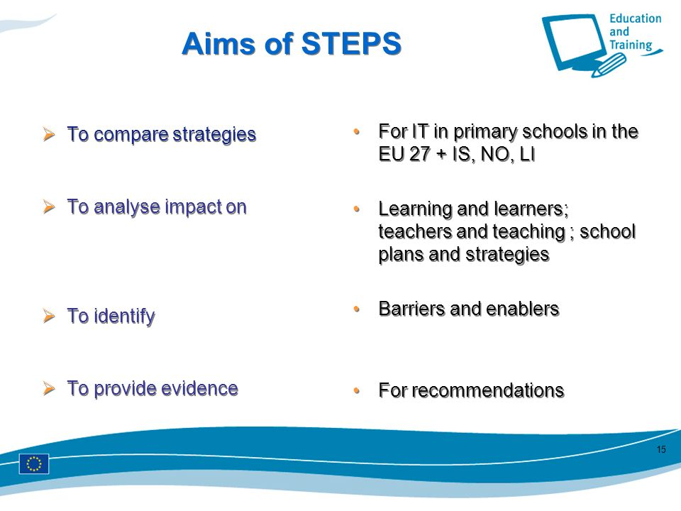 15 Aims of STEPS To compare strategies To analyse impact on To identify To provide evidence To compare strategies To analyse impact on To identify To