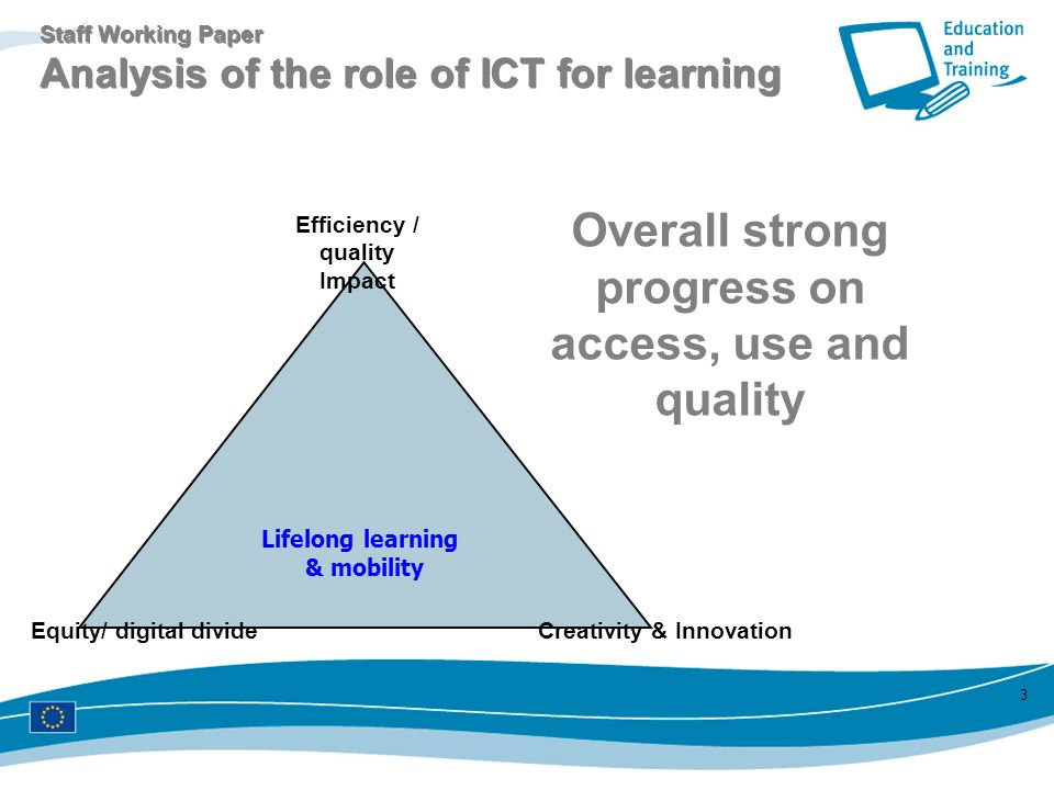 3 Lifelong learning & mobility Equity/ digital divideCreativity & Innovation Efficiency / quality Impact Staff Working Paper Analysis of the role of I