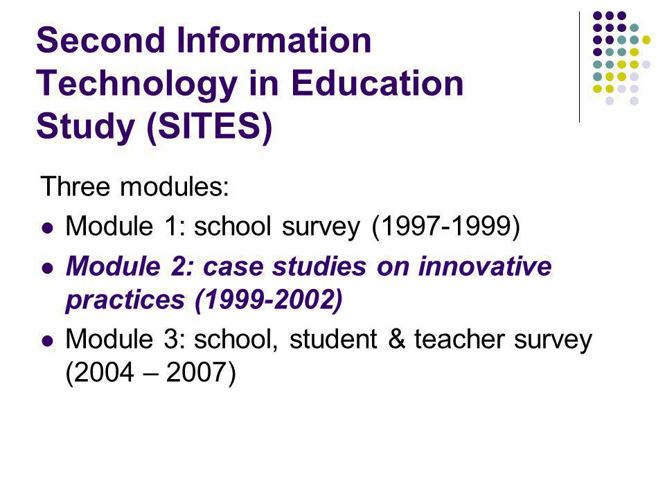 Second Information Technology in Education Study (SITES) Three modules: Module 1: school survey ( ) Module 2: case studies on innovative practices ( ) Module 3: school, student & teacher survey (2004 – 2007)