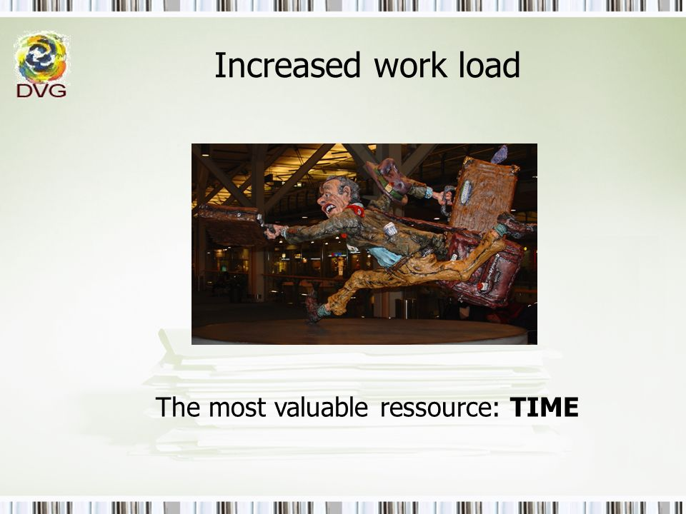 Increased work load The most valuable ressource: TIME