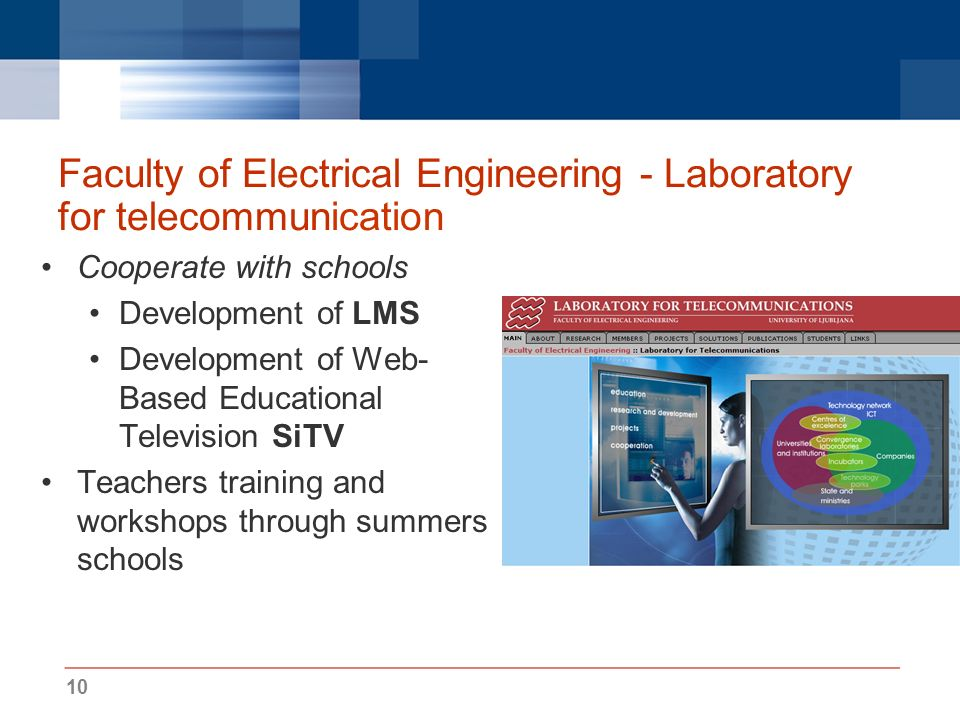 10 Faculty of Electrical Engineering - Laboratory for telecommunication Cooperate with schools Development of LMS Development of Web- Based Educational Television SiTV Teachers training and workshops through summers schools