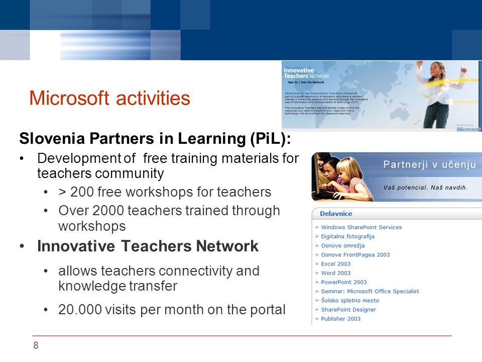 8 Microsoft activities Slovenia Partners in Learning (PiL): Development of free training materials for teachers community > 200 free workshops for tea