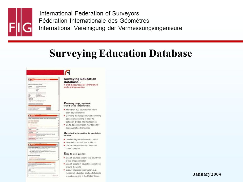 January 2004 International Federation of Surveyors Fédération Internationale des Géomètres International Vereinigung der Vermessungsingenieure Surveyi
