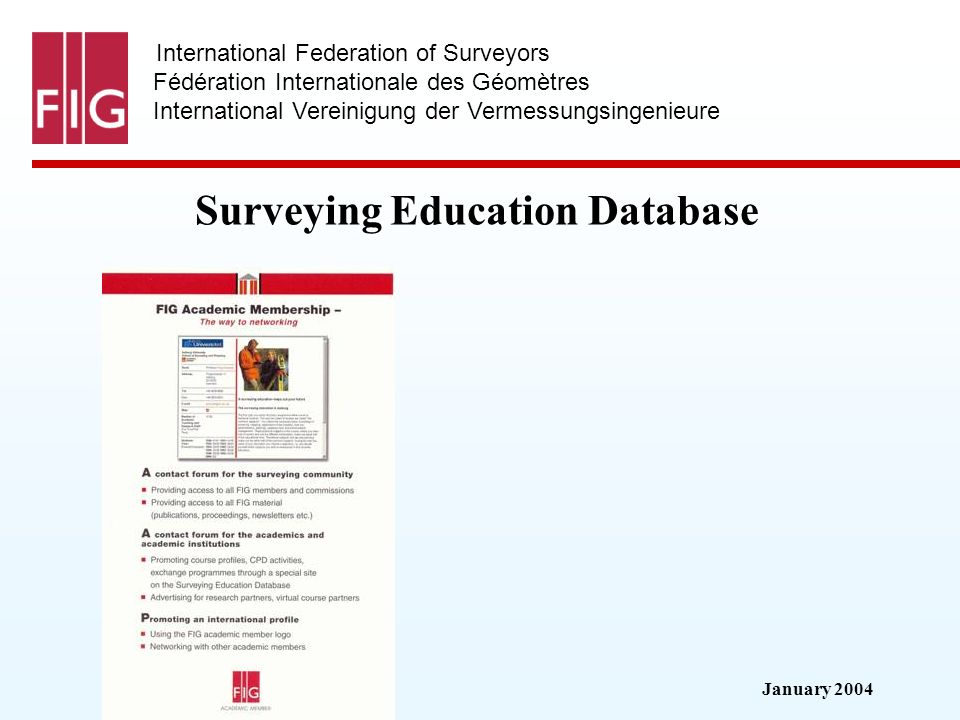 January 2004 International Federation of Surveyors Fédération Internationale des Géomètres International Vereinigung der Vermessungsingenieure Surveying Education Database