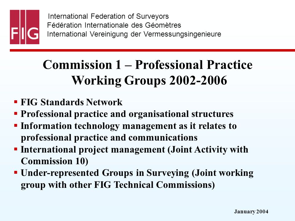 January 2004 International Federation of Surveyors Fédération Internationale des Géomètres International Vereinigung der Vermessungsingenieure Commission 1 – Professional Practice Working Groups Working Groups FIG Standards Network Professional practice and organisational structures Information technology management as it relates to professional practice and communications International project management (Joint Activity with Commission 10) Under-represented Groups in Surveying (Joint working group with other FIG Technical Commissions)