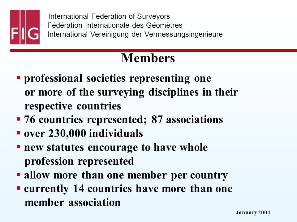 January 2004 International Federation of Surveyors Fédération Internationale des Géomètres International Vereinigung der Vermessungsingenieure Members professional societies representing one or more of the surveying disciplines in their respective countries 76 countries represented; 87 associations over 230,000 individuals new statutes encourage to have whole profession represented allow more than one member per country currently 14 countries have more than one member association
