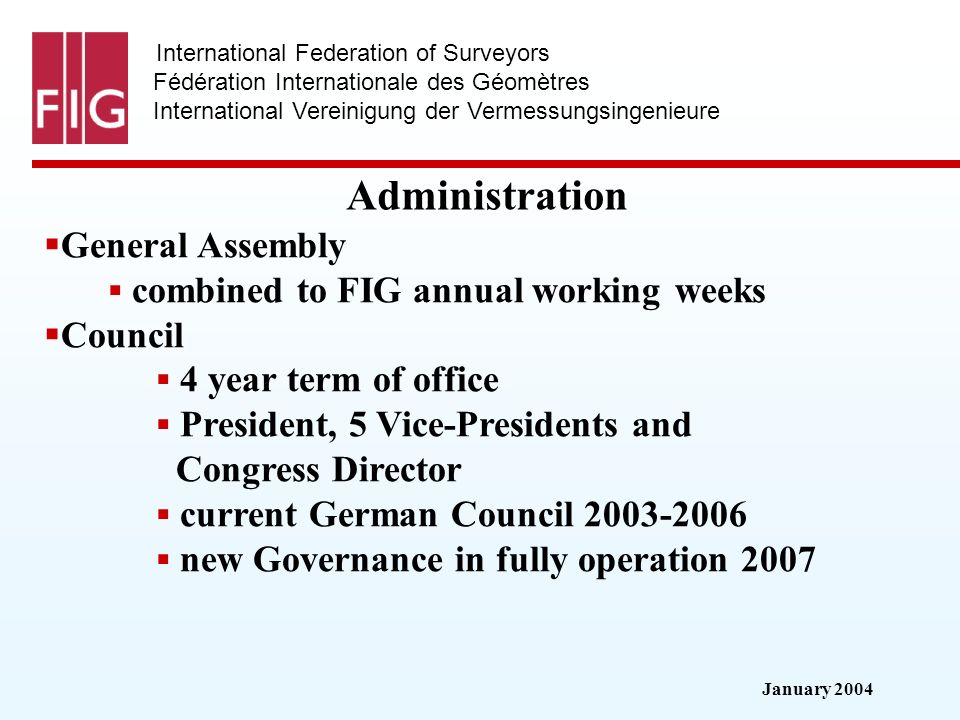 January 2004 International Federation of Surveyors Fédération Internationale des Géomètres International Vereinigung der Vermessungsingenieure Administration General Assembly combined to FIG annual working weeks Council 4 year term of office President, 5 Vice-Presidents and Congress Director current German Council new Governance in fully operation 2007