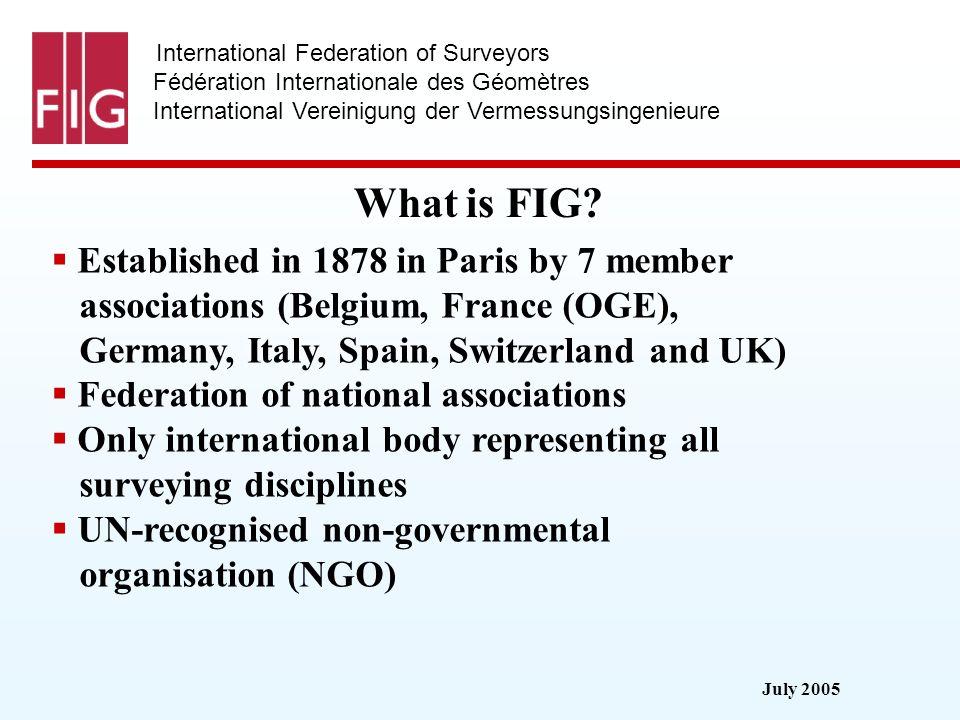 July 2005 International Federation of Surveyors Fédération Internationale des Géomètres International Vereinigung der Vermessungsingenieure What is FI