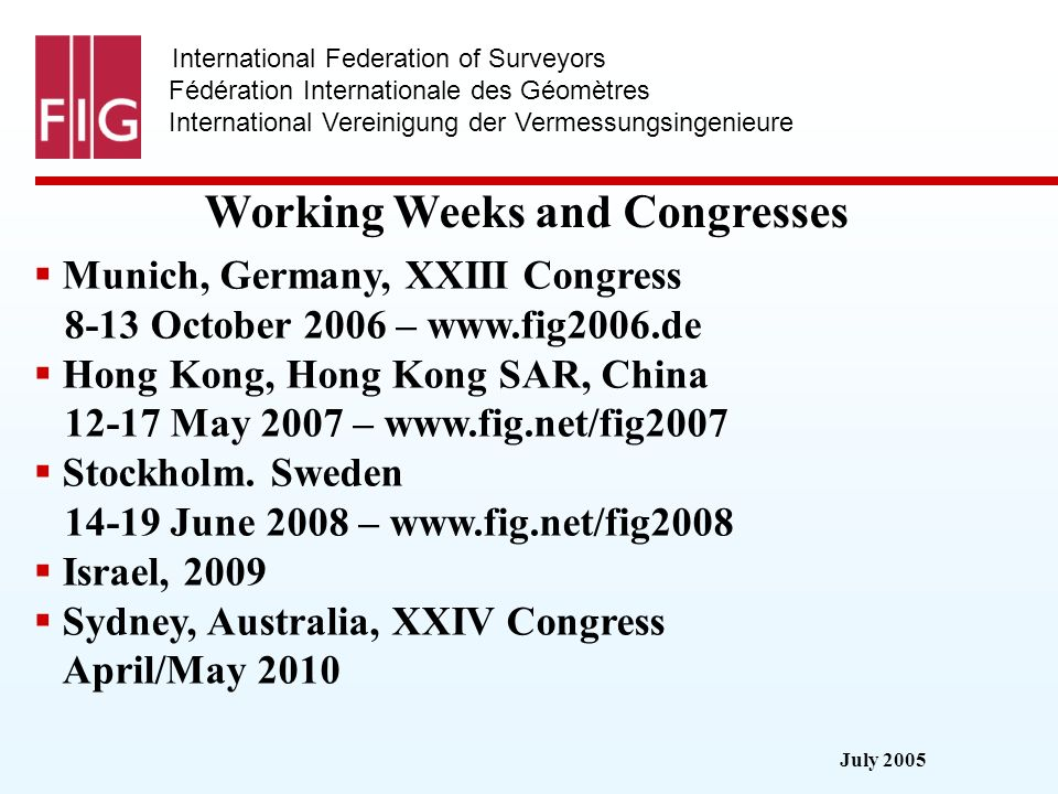 July 2005 International Federation of Surveyors Fédération Internationale des Géomètres International Vereinigung der Vermessungsingenieure Working We